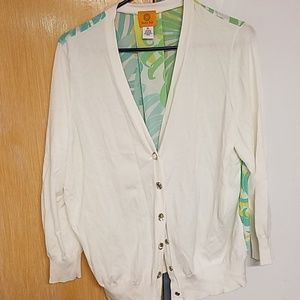 White sweater with tropical back insert